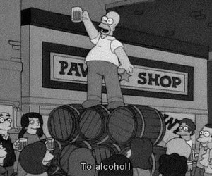 alcohol, homer, and simpsons image