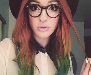 color hair, girl, and glasses image