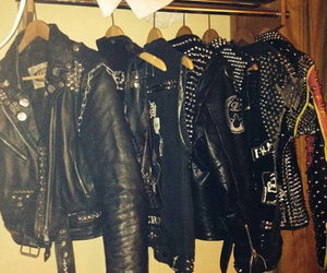 jacket, leather jacket, and metal image