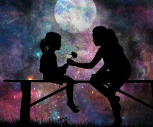 girl, Dream, and moon image