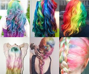 hair, rainbow, and blue image