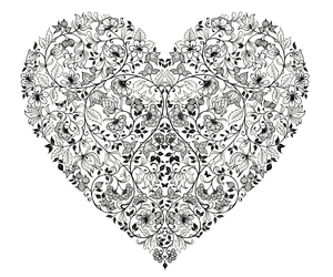 heart and black and white image