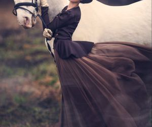 horse, woman, and vintage image
