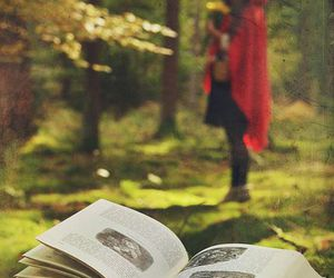 book, forest, and red riding hood image