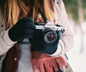camera, girl, and winter image