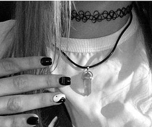 black and white, choker, and crystal image