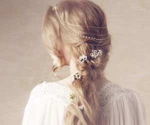 hair, white, and flowers image