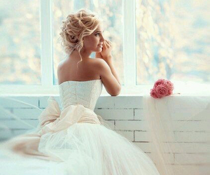 dress, girl, and bride image