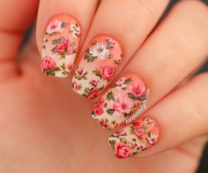 nails, flowers, and nail art image