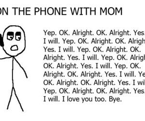 mom, phone, and funny image