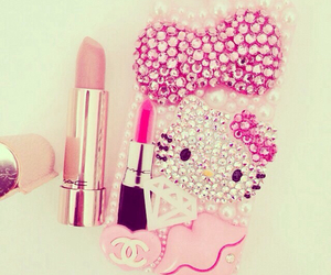 pink, hello kitty, and lipstick image