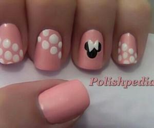 mickey mouse, pink nails, and nail art image