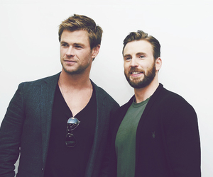chris evans, chris hemsworth, and thor image