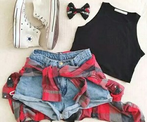 outfit, shorts, and crop top image