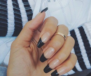 black, nice, and black nails image