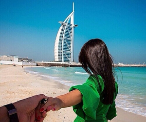 Dubai, couple, and beach image