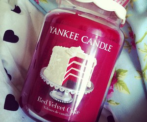 candle, Red velvet cake, and yankee candle image