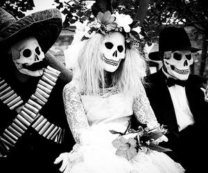 skull, black and white, and wedding image