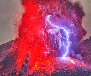 relampago, vulcao, and vermelho image
