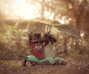 rain, childhood, and children image