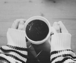 coffee, black and white, and tea image