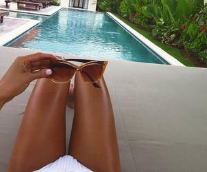 girl, happiness, and pool image