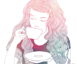 girl, tea, and art image