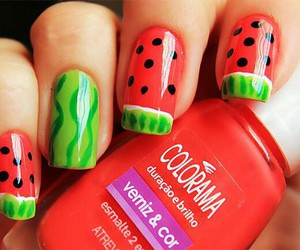nails, watermelon, and red image