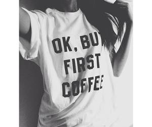 coffee, shirt, and black and white image