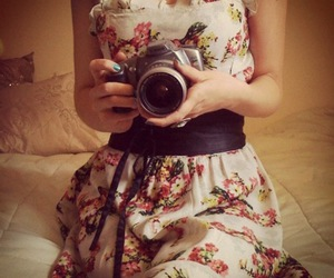 camera, dress, and flower image