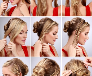 braided, bun, and simple image