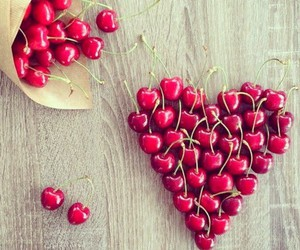 cherry, heart, and fruit image