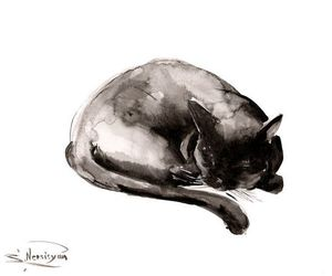 black cat and drawing image