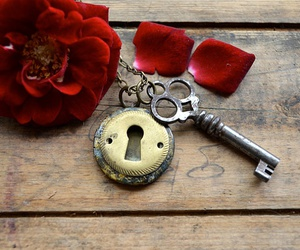 key, red, and rose image