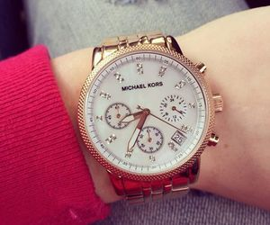 Michael Kors, watch, and gold image