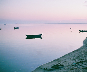 beach, boats, and pale image