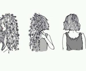 hair, flowers, and art image