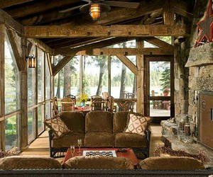 country living, home, and log cabin image