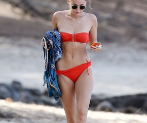 miley cyrus, beach, and bikini image