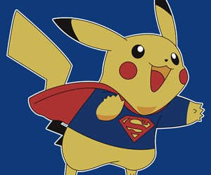 pikachu, pokemon, and superman image