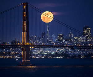 photography, moon, and city image