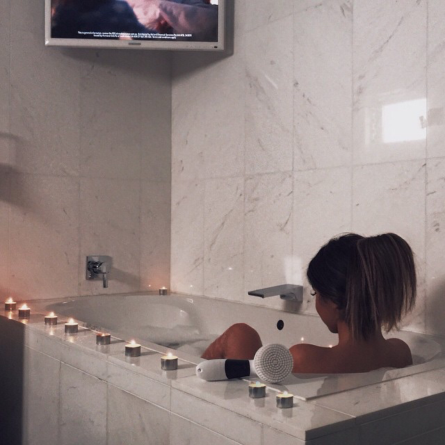 bath tub, bubble bath, and relaxing image