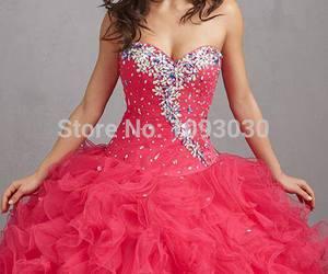 dress, long dress, and pink image