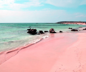 beach, pink, and ocean image