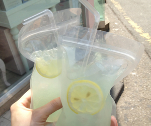 lemonade, lemon, and drink image