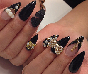 nails, nailart, and blacknails image