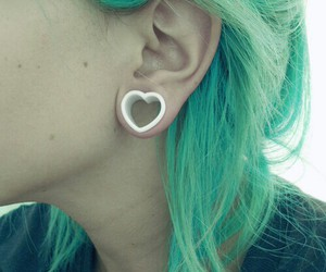 heart, green, and piercing image