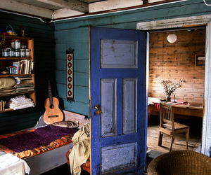 room, blue, and guitar image