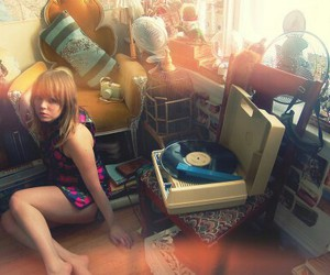 bedrooms, record player, and boho image