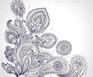 floral, paisley, and tattoo image